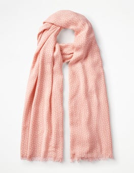 Chalky Pink and Ivory Printed Scarf