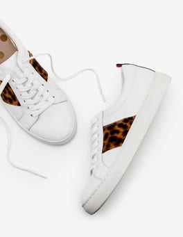 White and Tan Leopard Classic Sneakers