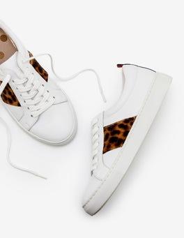 Weiß und Hellbraun, Leopardenmuster Klassische Turnschuhe