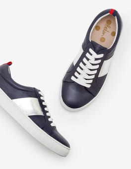 Navy and Silver Stripe Classic Trainers