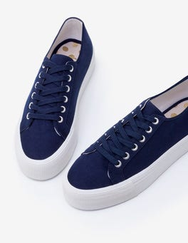Navy Canvas Flatform Plimsolls