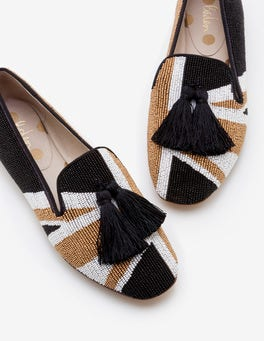 Union Jack Evelina Beaded Slippers