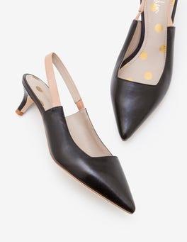 Black and Fawn Florrie Kitten Heel Slingbacks