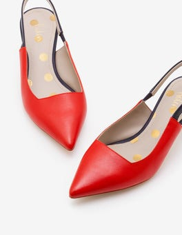 Red Pop and Navy Florrie Kitten Heel Slingbacks