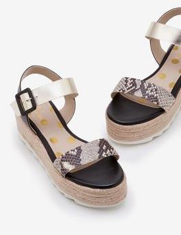 Snake, Gold and Black Lena Platform Sandals