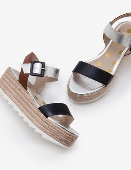 Navy, Silver and Tan Lena Platform Sandals