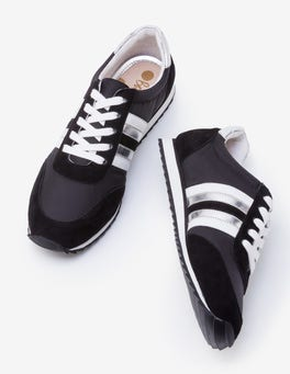 Black, White and Silver Striped Trainers