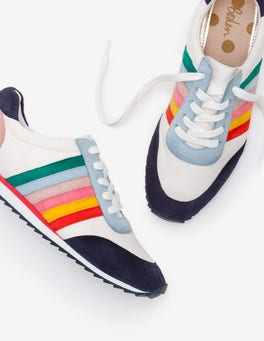 White and Rainbow Striped Sneakers