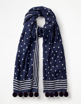 Navy and Ivory Pompom Scarf
