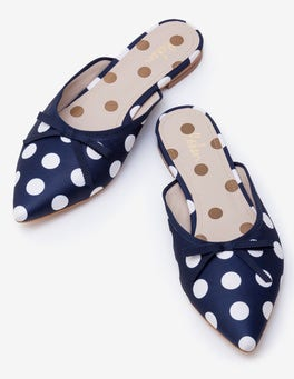 Navy and Ivory Spot Connie Flat Mules