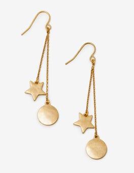 Gold Metallic Star Drop Earrings