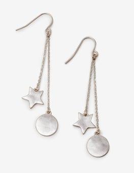 Silver Metallic Star Drop Earrings
