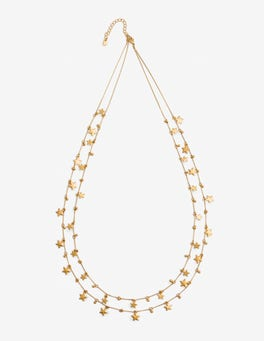 Gold Metallic Star Drop Longline Necklace