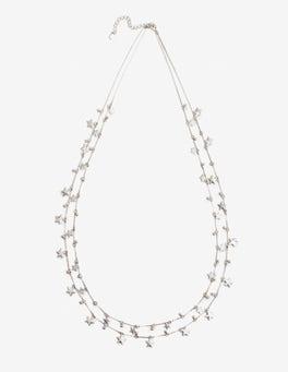Silver Metallic Star Drop Longline Necklace