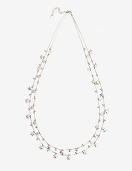 Silver Metallic Star Drop Longline Necklace