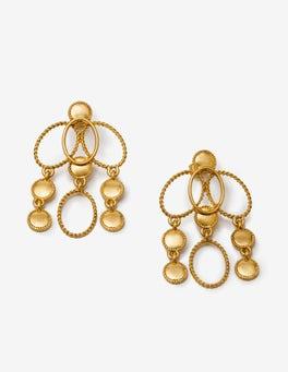 Gold Metallic Oval Earrings