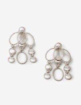 Silver Metallic Oval Earrings