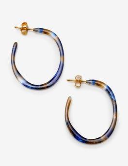 Cobalt Tortoiseshell Resin Hoop Earrings