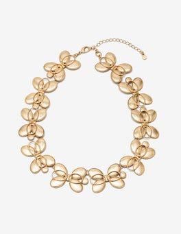 Gold Metallic Oval Necklace