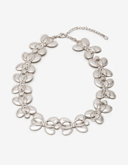 Silver Metallic Oval Necklace