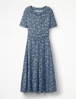Navy Blossom Spot Portia Jersey Dress
