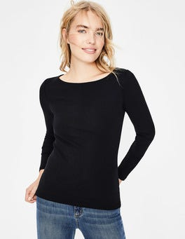 Black Essential Boat Neck