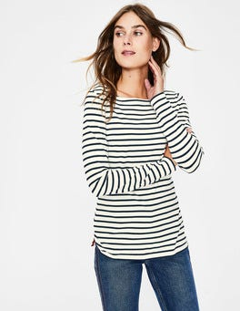 Ivory/Navy Essential Boat Neck