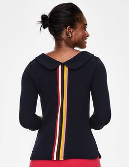 Navy Multi Stripe Sarah Ottoman Top