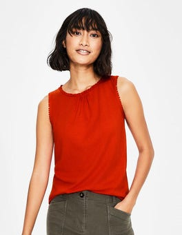 Red Pop Frill Jersey Vest