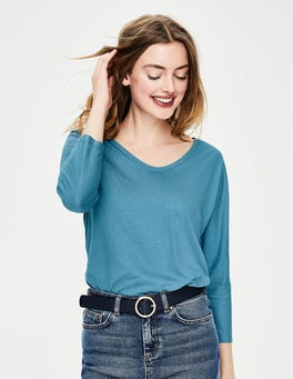Azurblau Superweiches T-Shirt mit abgerundetem V-Ausschnitt