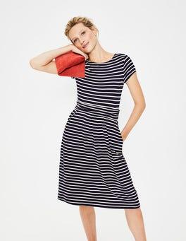 Navy/Naturweiß, Gestreift Amelie Jerseykleid