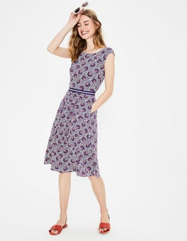 Ivory/Cobalt Island Bloom Bernice Jersey Dress