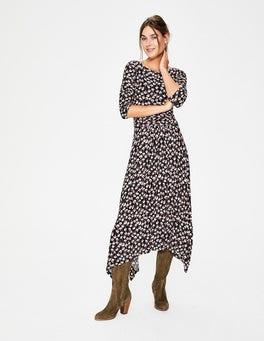 Black Crocus Flower Maisie Jersey Midi Dress