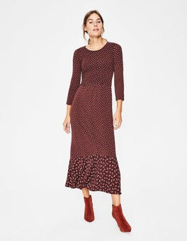 Maroon Arc Philippa Hem Detail Midi Dress