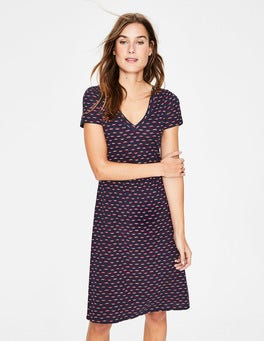 Navy/Chalky Pink Lips Penelope Jersey Dress