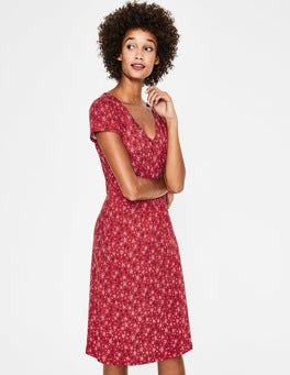 Poinsettia Sketchy Star Penelope Jersey Dress