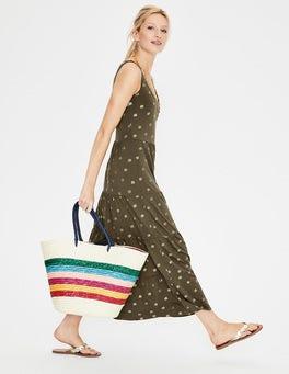 Khaki Petal Foil Print Maya Jersey Maxi Dress