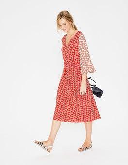 Red Pop Falling Petal Bella Jersey Midi Dress