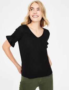 Noir T-shirt ultra-doux à manches volantées