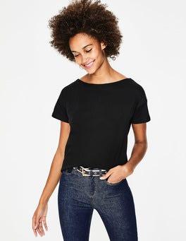 Noir T-shirt ultra-doux à col large