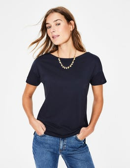 Navy Supersoft Slash Neck Tee