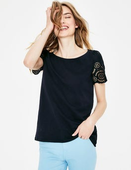 Navy Isabella Broderie Back Top
