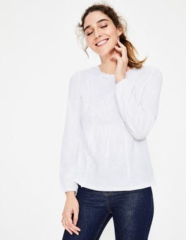 White Cleo Broderie Jersey Top