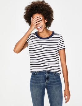 Ivory/Navy Short Sleeve Crew Neck Breton