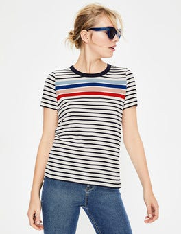 Ivory/Heron Blue Multi Short Sleeve Crew Neck Breton