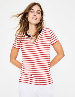 Ivory/Post Box Red Short Sleeve Crew Neck Breton