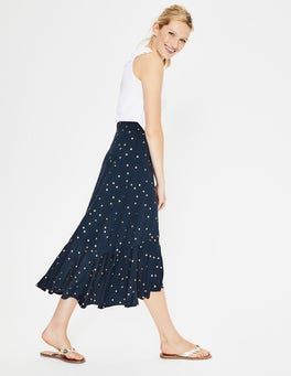 Navy Foil Spot Fluted Hem Jersey Skirt