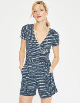 Heron Blue Diamond Lattice Caroline Jersey Romper
