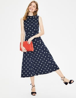 Navy Spot Aria Ponte Midi Dress