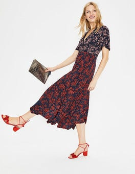 Navy Floral Bloom Heather Hem Detail Midi Dress